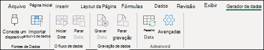 Guia da faixa de opções do Stream de dados do Excel