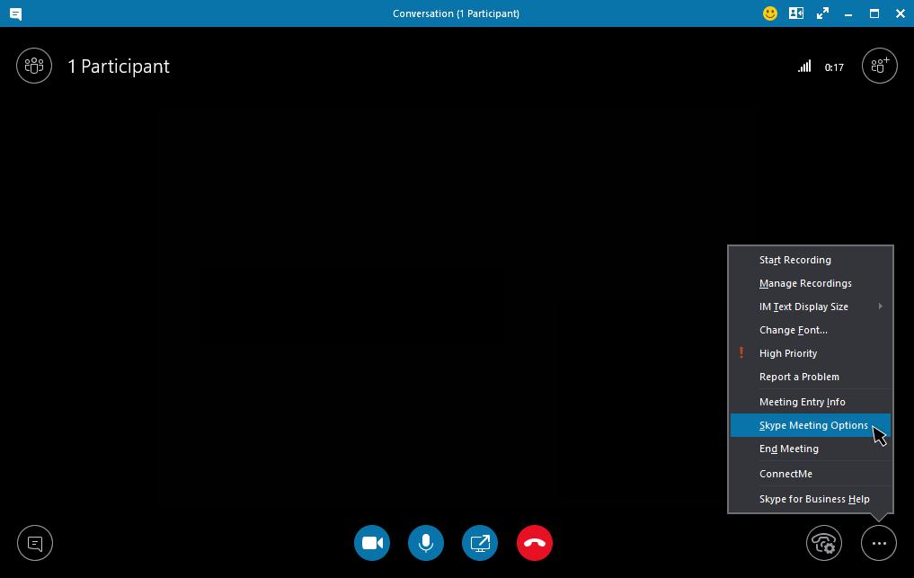 Menu de opções de reunião do Skype for Business