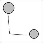 Mostra um conector desenhado em escrita à tinta entre dois círculos.