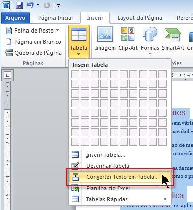 executar o comando converter texto em tabela