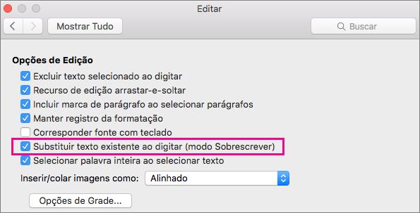 Substitua o texto existente como tipo (modo sobrescrever) é realçado na caixa de diálogo Editar de preferências do Word.