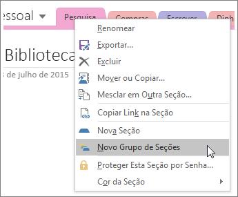 Captura de tela de como criar um novo grupo de seções no OneNote 2016.