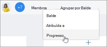 Clique em Agrupar por e selecione andamento