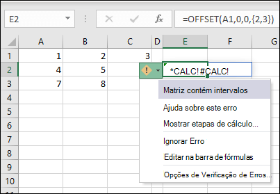 #CALC! Error-array contém intervalos