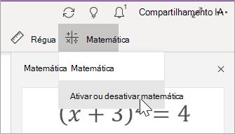 Ativar ou desativar matemática