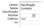Critérios de consulta para exibir os resultados de palavra específica