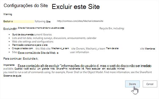 Clique em excluir se tiver certeza de que deseja excluir este site de equipe