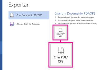 Botão Criar PDF/XPS na guia Exportar no Word 2016.