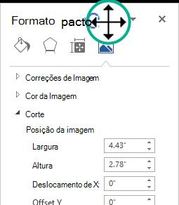 O painel Formatar imagem em um estado desencaixado: uma janela flutuante de graça