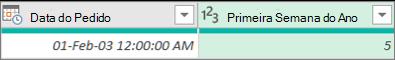 Adicionar uma coluna para obter o número da semana de uma data