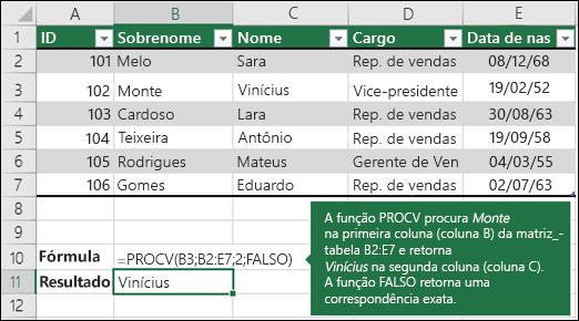Exemplo 1 de PROCV