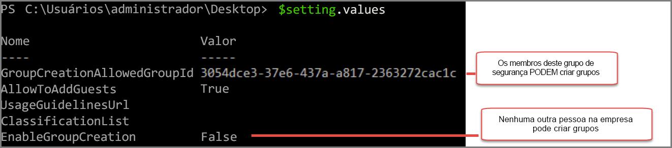 Objeto de configurações de grupo com valor alterado