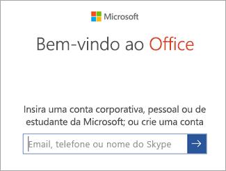 Insira o email da conta da Microsoft ou a conta do Office 365