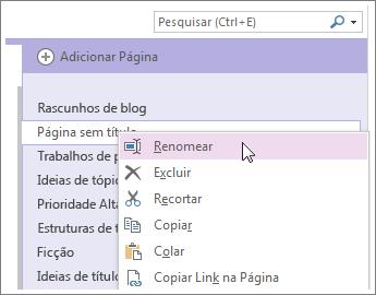 clique com o botão direito do mouse na guia de uma página para dar a ela um novo nome.