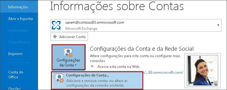 Configurações de conta no Outlook