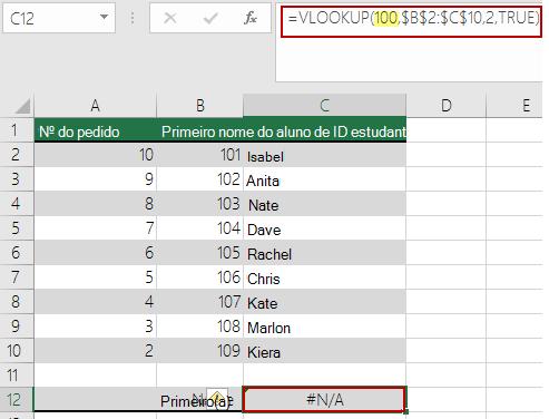 Erro #N/D em PROCV quando o valor de pesquisa é menor do que o menor valor na matriz
