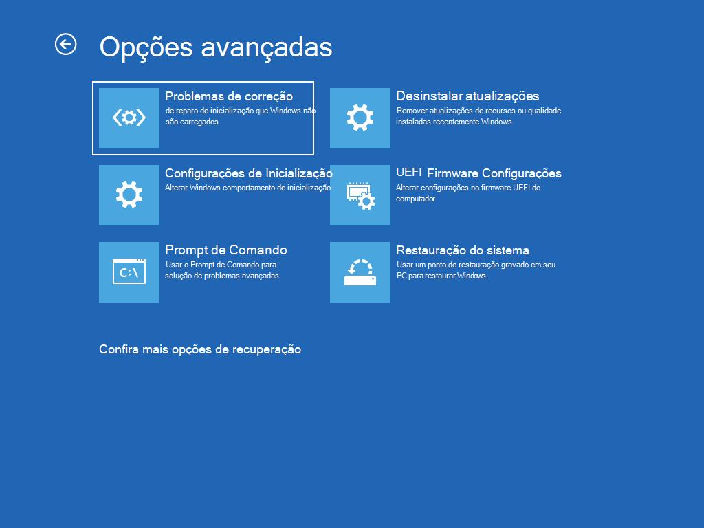 """Mostra a tela """"Opções avançadas"""" com """"Reparo de inicialização"""" selecionado."""
