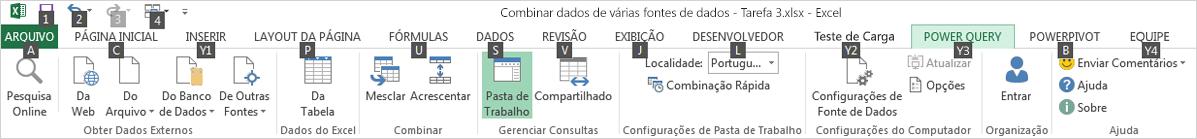 Dicas de tecla 2 da Faixa de opções do Gerenciador de dados