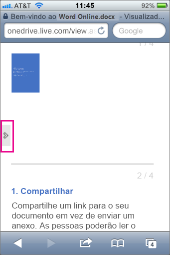 Toque para abrir a barra de ferramentas nos Visualizadores do Office Mobile