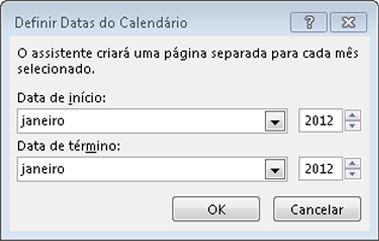Defina um novo mês na caixa de diálogo Definir Datas do Calendário.