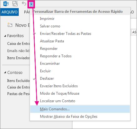 Adicionar um comando à barra de ferramentas de acesso rápido
