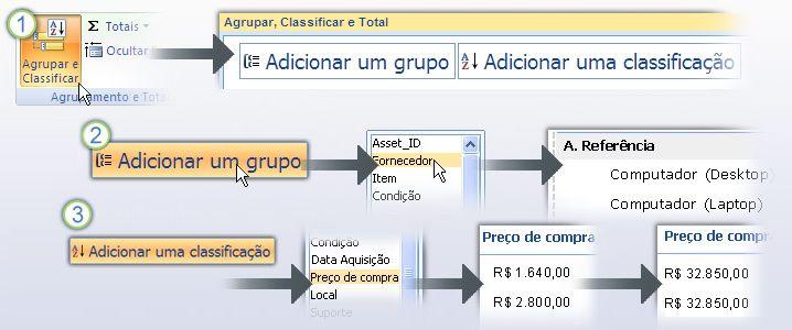 Agrupando e classificando dados em um relatório