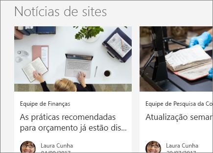 Notícias de sites do SharePoint do Office 365