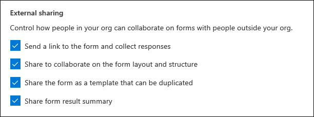 Configuração de administração do Microsoft Forms para compartilhamento externo