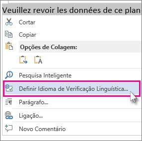 Clicar com o botão direito do mouse e clicar em Definir Idioma de Revisão de Texto