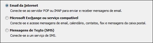 Outlook 2010 escolher serviço para nova conta