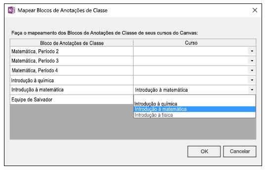 Captura de tela de como mapear blocos de anotações de classe