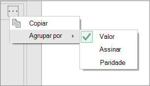 Um exemplo de comandos de Grupo Por adicionais