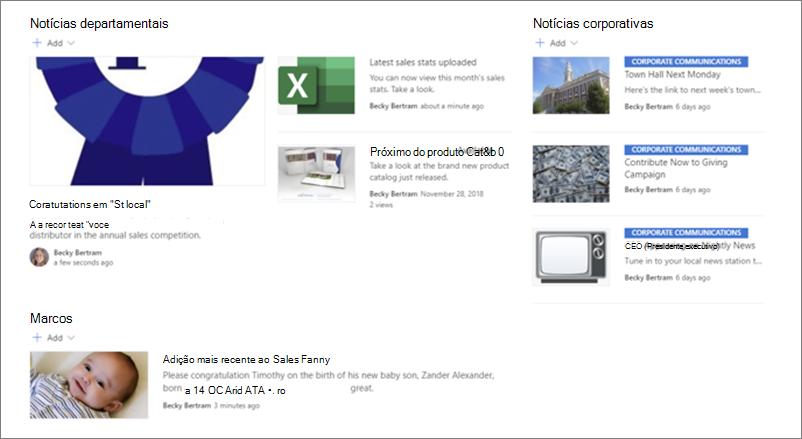 Exemplo de notícias em um site de departamento da Web