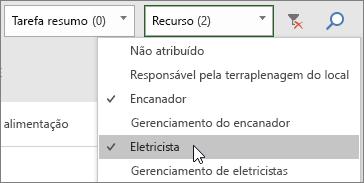 """Captura de tela do menu suspenso """"Filtrar Recursos"""" no Painel de tarefas com dois recursos selecionados."""