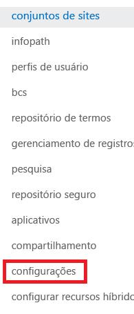Captura de tela do painel de tarefas Conjuntos de sites