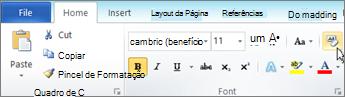 Na guia página inicial, clique em Limpar formatação.