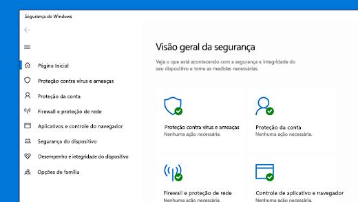 Home page da Segurança do Windows