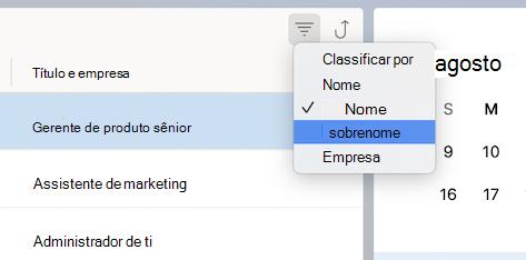 Classificar por menu de Contatos