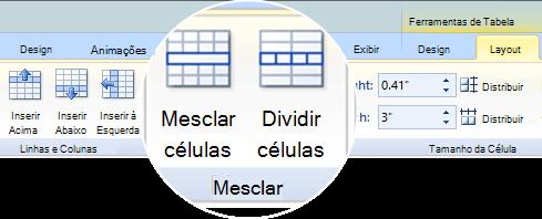 Mesclar ou dividir células da tabela