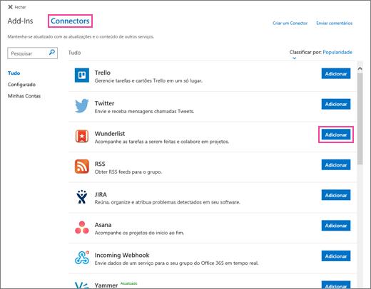 Captura de tela dos serviços conectados disponíveis no Outlook na Web