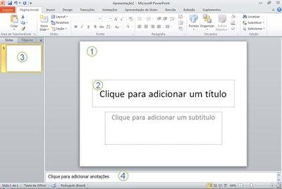 O espaço de trabalho, ou modo de exibição Normal, no PowerPoint 2010 com quatro áreas rotuladas.