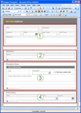 Modelo de formulário agenda de reuniões com quatro seções