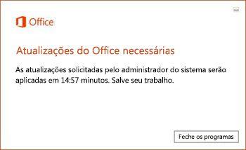 Notificação de limite de 15 minutos das atualizações do Office