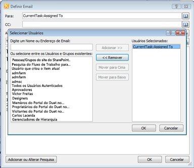 Você pode selecionar os destinatários de uma notificação de tarefa por email na caixa de diálogo Selecionar Usuários