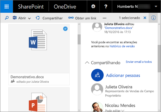 Captura de tela do painel Detalhes no OneDrive for Business no SharePoint Server 2016 com o Feature Pack 1