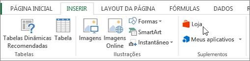 Captura de tela de uma seção da guia Inserir na faixa de opções do Excel com um cursor apontando para a loja. Selecione loja para acessar a Office Store e procure suplementos para o Excel.