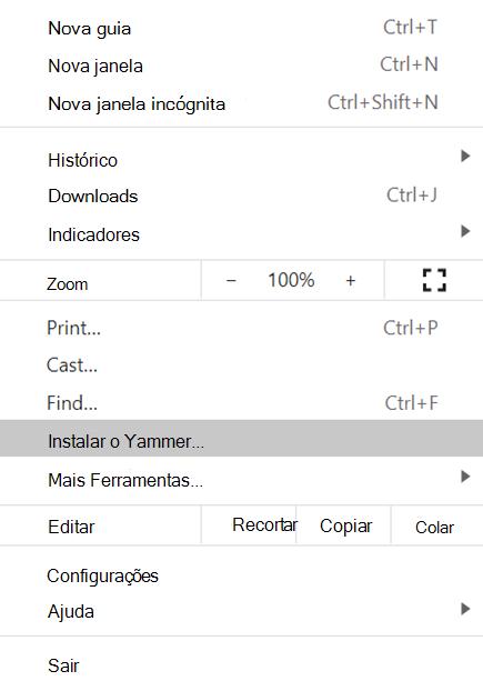 Captura de tela mostrando como instalar o Yammer para PWA com Chromium de navegação baseadas em Chromium base