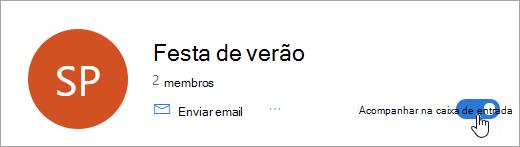 Uma captura de tela do botão de caixa de entrada acompanhar