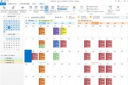 Exemplo de calendários nos modos Lado a Lado e de Sobreposição