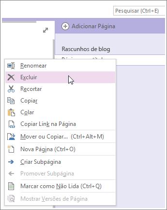 Clique com o botão direito do mouse na guia da página para excluir a página.